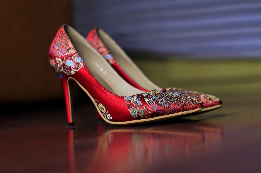 a pair of elegant red heels